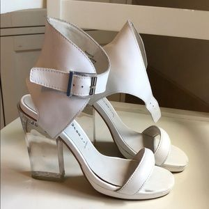 Jeffrey Campbell Clear Lucite White Heels 7